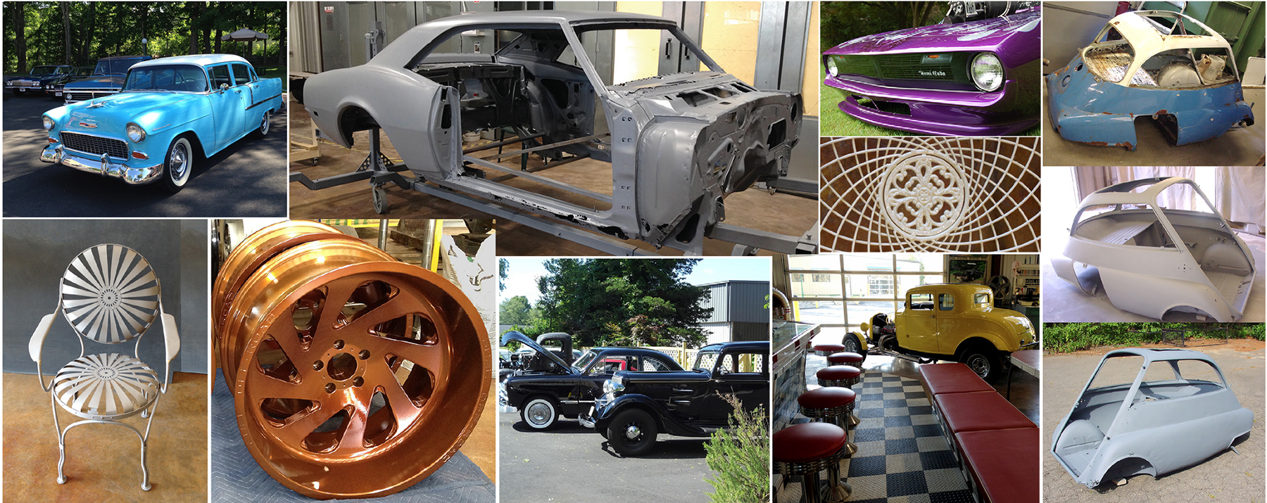 collage of New England Dry Stripping components and autos with blasting and powder coating